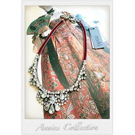 安妮的收藏^~Rada 桃紅絲絨水鑽項鍊
