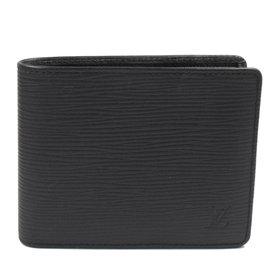 ~9成新~Louis Vuitton LV M60662 EPI水波紋皮革雙折短夾.黑 價