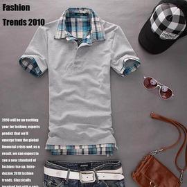 外貿速賣通ebay男裝 新品 短袖雙領POLO衫 珠地純棉短袖打底衫