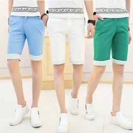 男式彩色條紋翻邊 短褲 青少年純色修身型小直筒純棉5分褲藍綠