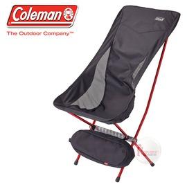 探險家戶外用品㊣CM-26741 美國Coleman LEAF高背椅/黑 超輕鋁合金折疊月亮椅 摺疊椅 休閒椅 折疊椅 折合椅