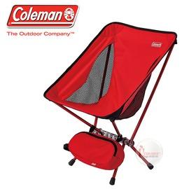 探險家戶外用品㊣CM-27854 美國Coleman LEAF隨行椅/紅 超輕鋁合金折疊月亮椅 摺疊椅 休閒椅 折疊椅 折合椅