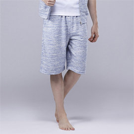 ELLE HOMME法蘭絨休閒五分褲~藍 灰~中揚 ~E83204