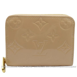 Louis Vuitton LV M90203 花紋全漆皮壓紋信用卡零錢包.沙色 價 15