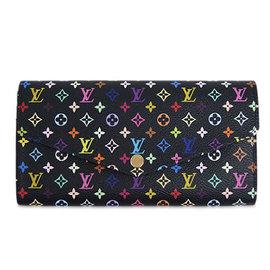 Louis Vuitton LV M60668 Sarah 村上隆系列 黑彩花紋發財包長夾