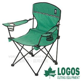 【日本 LOGOS】ROSY可調整兩段式椅(耐重80kg)/可調整椅背.扶手置杯架.導演椅.折疊椅.摺疊椅.折合椅/烤肉.野炊.登山.露營_綠 73172010