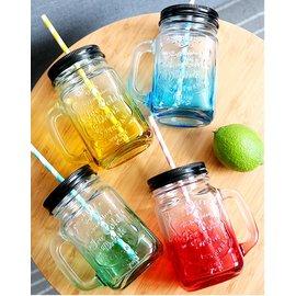 英文字母手把玻璃瓶 漸變色 漸層 梅森瓶 梅森罐 玻璃杯 玻璃瓶 果汁杯 水杯 隨身杯