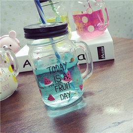 水果英文字母手把玻璃瓶 透明梅森瓶 吸管冷飲杯握把咖啡杯