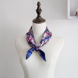 日韓田園碎花仿真絲絲巾中小方巾 亮桔藏藍絲綢領巾發帶