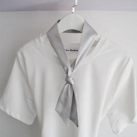 純色金色銀灰色小領巾絲巾 男女 情侶款長條小絲帶領巾