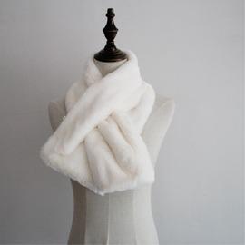 簡約純色仿兔毛圍脖毛絨絨仿皮草圍巾交叉口小圍巾白色