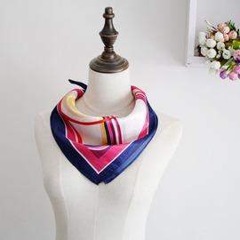 職業絲巾高檔小方巾 氣質百搭條紋銀行移動空姐工裝絲巾領巾百變