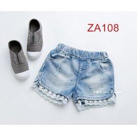 小確幸ZA108 款蕾絲邊磨破洗白休閒牛仔短褲 鬆緊帶褲頭百搭必敗款