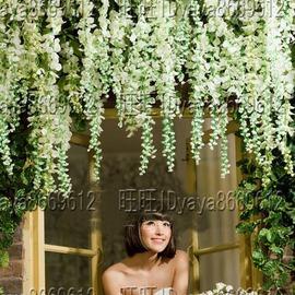 歐式裝飾紫藤花藤蔓掛壁花藝花條室內裝飾花白色紫色影樓�棜控器�