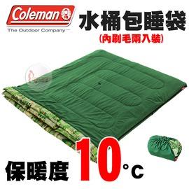 探險家戶外用品㊣CM-27256 美國Coleman 10度 2合1雙拼睡袋綠 (兩顆裝) 水桶包睡袋 內刷毛睡袋可機洗可雙拼 化纖睡袋露營寢袋