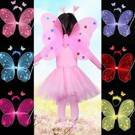 ~塔克~蝴蝶裝扮 萬聖節 金粉翅膀^(3件套^) 單層天使翅膀 兒童節 舞會表演 演出道具