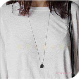 MINA韓國 ^~W688749^~• •氣質百搭六角鋼寶石長項鍊^~3色^~