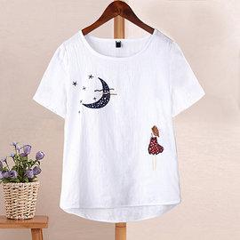 ~ORead~~e4145b3023 ~亞麻棉麻寬鬆短袖T恤^(白色S^~XL^)