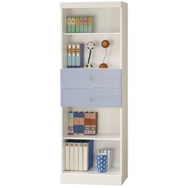型舍 ^~E289^~繽紛色彩 中置雙抽書櫃 藍白木紋