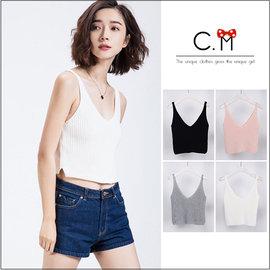 韓國訂單 寬鬆雙V領 兩側開叉~天然的抗皺和免燙性~短款針織衫背心~4色~C.M~專櫃外貿