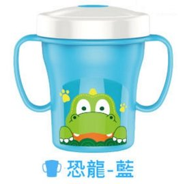 【紫貝殼】『DC09-5』【韓國 EDISON 愛迪生】防漏吸管握把水杯2代 250ml 恐龍藍【保證原廠公司貨】