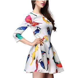 繽紛色彩鳥兒連身裙 ^(2色^)