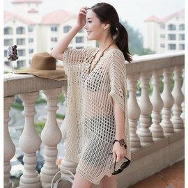 鏤空手鈎網狀針織衫比基尼泳裝防曬罩衫 ~32~66~8029~ibella 艾貝拉