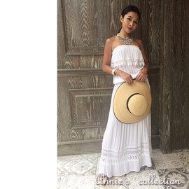 安妮的收藏^~deby debo 白棉平肩蕾絲長洋裝 ^~JULIA^~