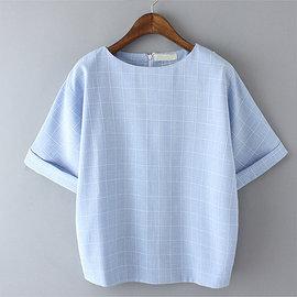 ~ORead~~e2528b~1917~圓領短袖棉麻格子T恤^(3色S^~XL^)
