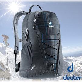 【德國 Deuter】新款 GoGo DayPack 3D透氣休閒旅遊後背包25L(減壓肩帶+扣腰帶)學生書包.適登山健行.出國洽公.自助旅行 3820016 黑藍格