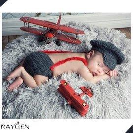 寫真 模範生 新生兒 飛行員 嬰兒攝影 套裝 手工帽 寫真攝影服裝 【HH婦幼館】