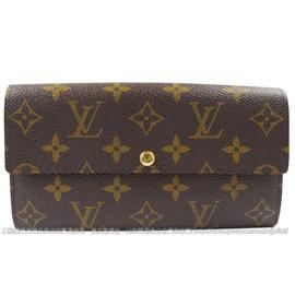 ~9成新~Louis Vuitton LV M61734 花紋發財包扣式長夾 款^#51