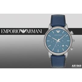 ~時間道~〔ARMANI~錶〕亞曼尼三眼計時 腕錶 –淺藍面深藍皮^(AR1969^)免