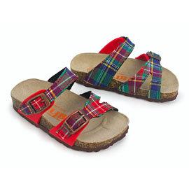 ~ZULIBA簡約風~幼童足跡簡單二條帶拖鞋^(14^~18^)~綠紅格布紅^( ^)
