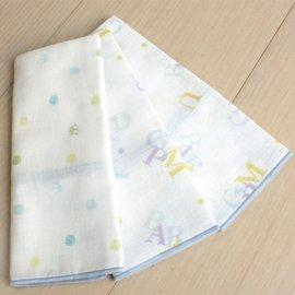 東京西川GMP 圓點純棉紗布三入手巾 (藍/粉)