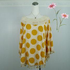 Golden House 服飾 罩衫式 七分袖 棉麻上衣 大圓點 甜美可愛又純真 A093