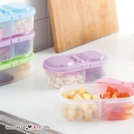 雙格翻蓋儲物盒 水果零食冰箱保鮮盒【HH婦幼館】