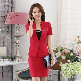 美之札^~SL~011~PF^~中 ^~優雅金屬條裝飾OL立領短袖西裝外套^~