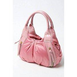 Animal Rush粉紅超輕量皺褶 手提包 水餃包 行李袋 側背包 手提袋 水桶包