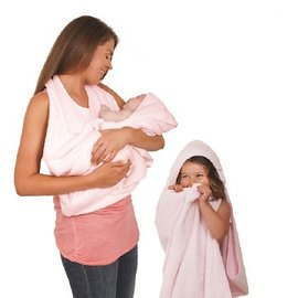 Clevamama 圍裙式嬰兒浴巾 洗澡超方便 ^(粉色^)