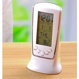 桌上型電子鬧鐘 藍彩光螢幕顯示 時間 溫度計 鬧鐘 日曆 電子鐘 手機座外型