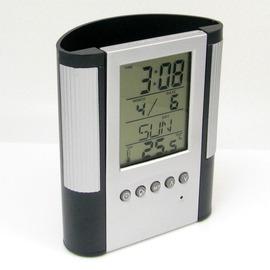 筆筒電子時鐘 大顯示屏溫度電子鬧鐘 顯示日歷 時間 溫度 計時器 銀色 半圓筒
