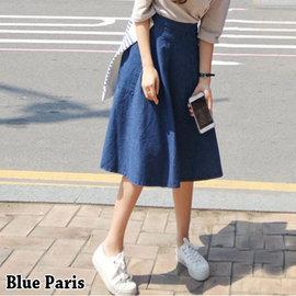 牛仔裙 ~ 大口袋 側邊拉鍊A字中長傘裙~23291~藍色巴黎 ~