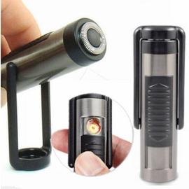 雙 免瓦斯電子打火機 電動刮鬍刀 USB充電防風打火機 電子點煙器抽香煙焚香更安全 圓柱黒