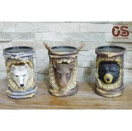 立體寫實動物蠟燭臺三入組^(狼、黑熊、鹿^) 野生狂野風格立體動物擺飾 餐廳擺設 美式餐廳