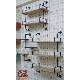 工業風黑鐵木板陳列架 展示架 置物架 書架 可客製訂做 三層架 二層架 活動式木板~CS鞋