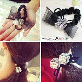 韓風珍珠蕾絲水晶造型綁頭髮髮飾 髮圈【HH婦幼館】