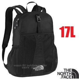 【美國 The North Face】新款 輕量多功能背包17L.可收式休閒背包.雙肩背包.後背包.書包/可折疊收納/ARMB 黑 V