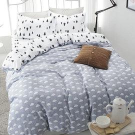 ~PAINT~北歐風格,小樹雲朵,精梳棉,雙人加大床包,兩用薄被套,四件組 A010816