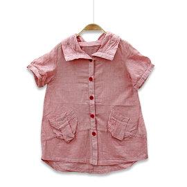 ~捷比 ~MeAnDo米果~JM5380~日系清爽感直條紋翻領短袖長版襯衫